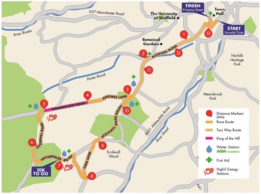 Sheffield Half Marathon Route